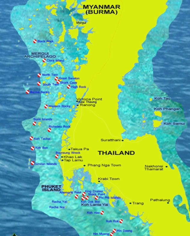 Burma dive sites map